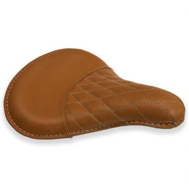 Genuine Leather Bobber Deep Dish Seat - Tan Weave