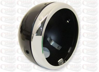 Black shell and chrome rim headlight