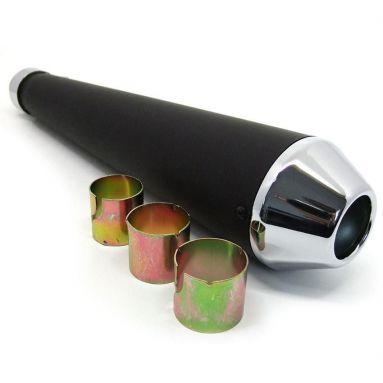 Universal Short Black And Chrome Megaphone Silencer 36mm/ 44mm