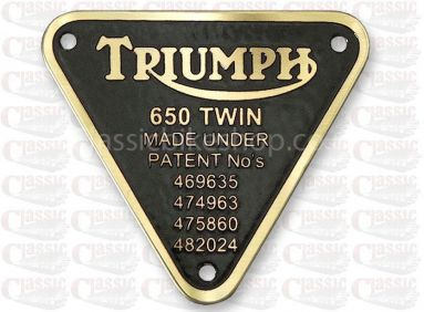 Triumph Timing Cover Patent Plate 650 Twin