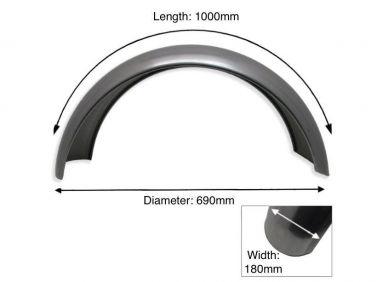 """Rear Plain Steel Mudguard 16"""" - 17"""" Inch Wheel"""