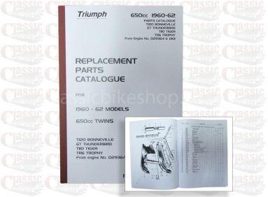 Triumph 1960-62 6T Thunderbird, T110 Tiger 110, TR6 Trophy, T120 Bonneville 120 Parts Book