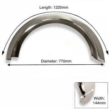 """Images - Rear Stainless Steel Mudguard 18"""" - 19"""" Inch Wheel"""