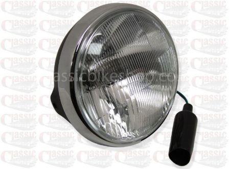 "7"" Headlight - Satin Black Shell With Chrome Rim, Side Mount"