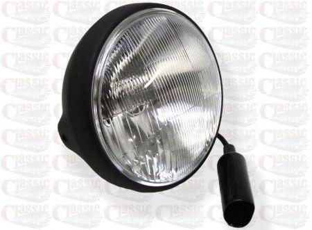 "7"" Headlight - Satin Black Shell With Black Rim, Side mount"