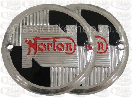 Norton Red/Silver/Black Tank Badges