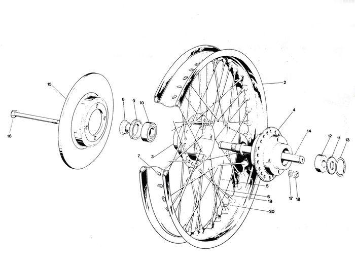 Triumph 750cc Tr7 T140 Front Wheel Parts