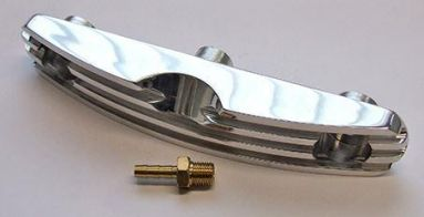Triumph Finned Billet Alloy Rocker Oil Feed Manifold For Unit Twin Models. Curved Type (1963-70).