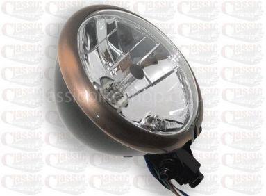 "Bates 5 3/4"" Bottom Mount Headlamp with Bronze Rim"
