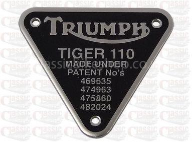Triumph Tiger 110 Patent Plate