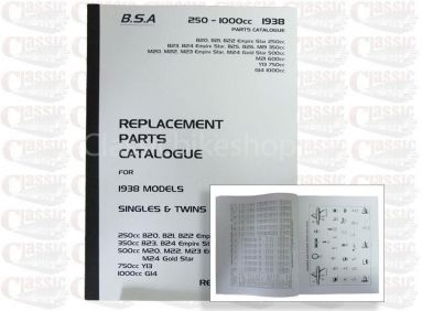 BSA 1938 Parts Book All models