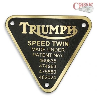 Triumph timing case patent plate speed twin 70-1595