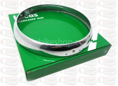 "Genuine Lucas 7"" Chrome headlamp rim."