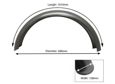"Rear Plain Steel Mudguard 16"" Inch Wheel"