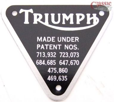 Triumph timing cover patent plate