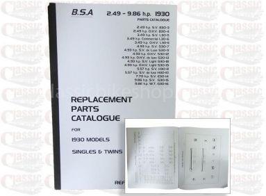 BSA 1930 Parts Book All Models