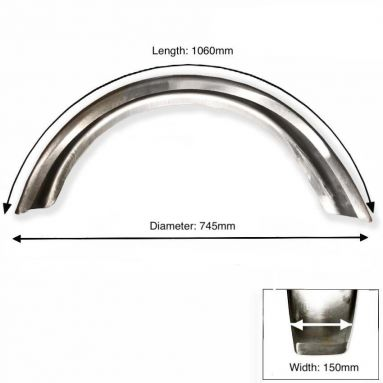 "Rear Plain Steel Mudguard 18"" - 19"" Wheel"