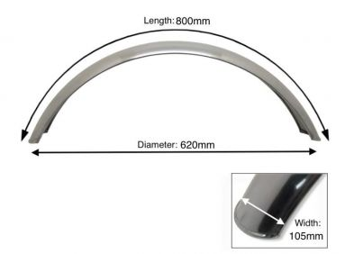 """Alloy Front Mudguard 17"""" - 18"""" Inch Wheel"""