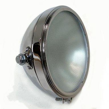 Vintage 8'' Miller Chrome Headlamp, Flat Glass