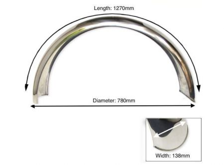 "Rear Stainless Steel Mudguard 18"" - 19"" Inch Wheel"