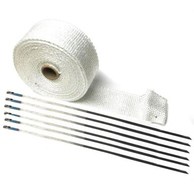 Motorcycle Exhaust Wrap in White