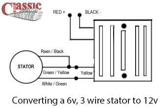 converting 6v 3 wire stators to 12v